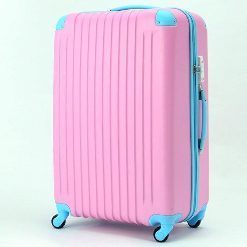(トラベルデパート) 超軽量スーツケース TSAロック付 (Sサイズ(34L), パステルピンク)