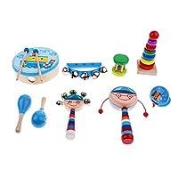 Baoblaze 全7種類 楽器おもちゃ 打楽器 音楽おもちゃ 木製 ベビー 知育玩具 - ボーイ9個