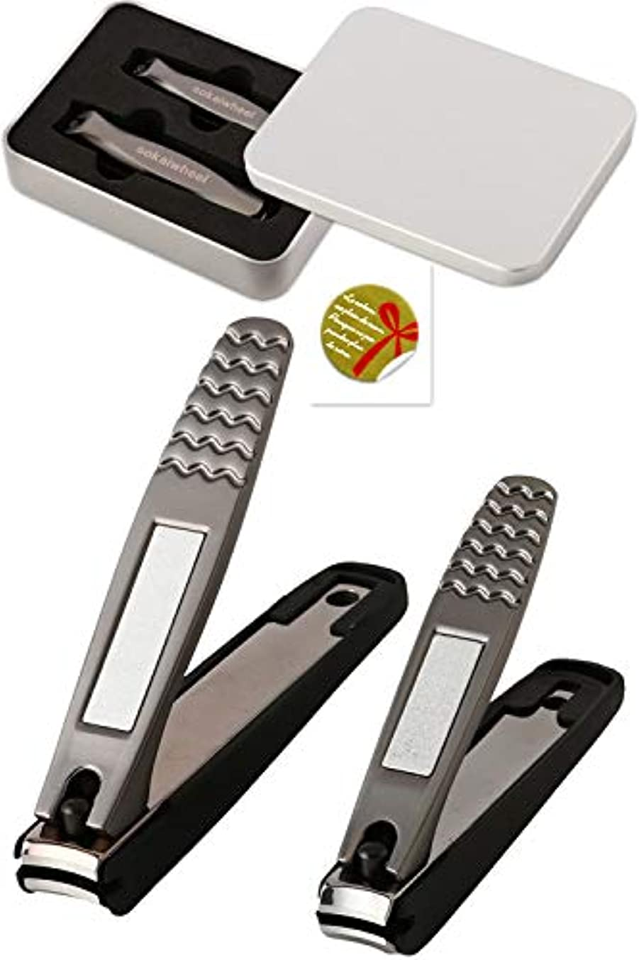 解明する団結する確かに爪切り Sokaiwheel つめきり ステンレス製 高級 飛び散り防止爪切り 金属ケース?ギフトシール付 2本組