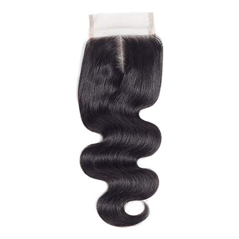 嫌な解釈する光沢WASAIO ブラジルのボディウェーブ女性の人間Veridicalヘアエクステンションクリップのシームレスな髪型4x4のレースフロンタル閉鎖センター別れ(8インチ?20インチ) (色 : 黒, サイズ : 10 inch)