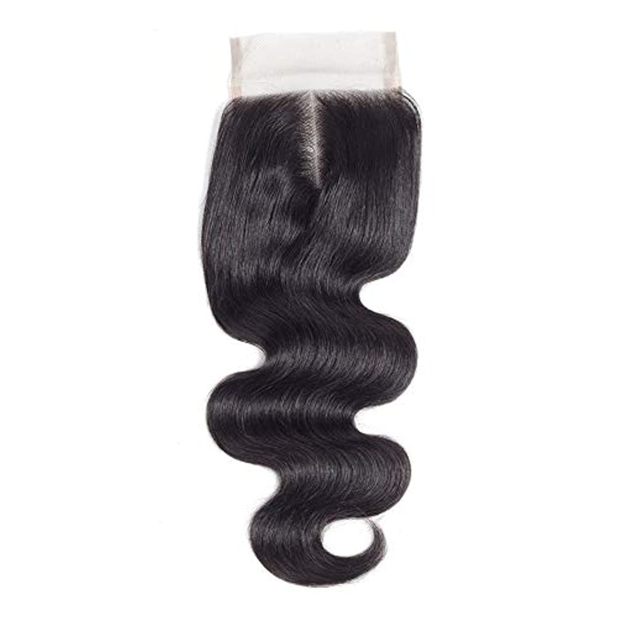 甲虫エリート退屈WASAIO ブラジルのボディウェーブ女性の人間Veridicalヘアエクステンションクリップのシームレスな髪型4x4のレースフロンタル閉鎖センター別れ(8インチ?20インチ) (色 : 黒, サイズ : 10 inch)