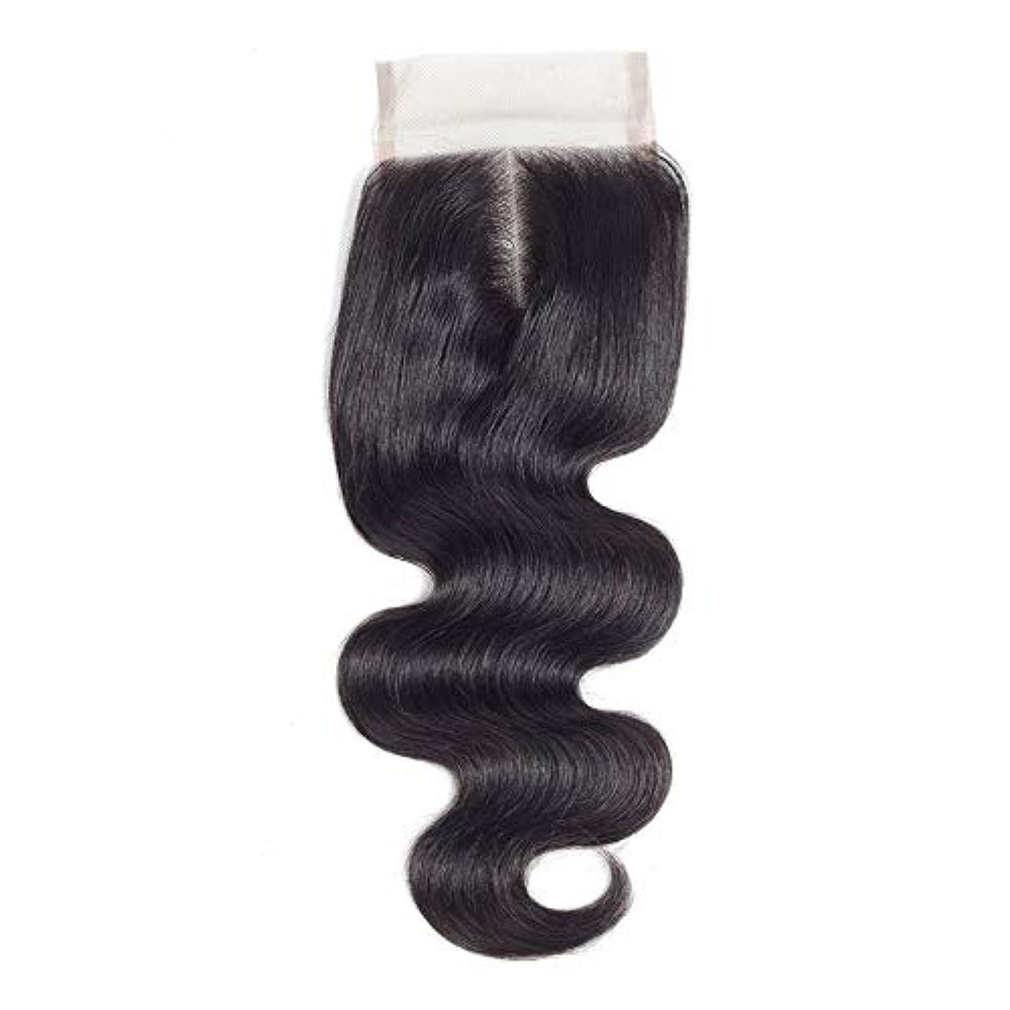 バッジメディカルネットWASAIO ブラジルのボディウェーブ女性の人間Veridicalヘアエクステンションクリップのシームレスな髪型4x4のレースフロンタル閉鎖センター別れ(8インチ?20インチ) (色 : 黒, サイズ : 10 inch)