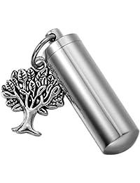 HooAMI生命の木灰ホルダー円柱Cremation Urnネックレスメモリアル記念品ペンダント – Free Engraving