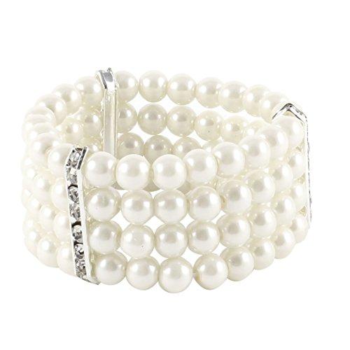 [해외]여성 4 행 가짜 진주 장식 탄성 팔찌 팔찌 보석 미색/Four row female pearl decoration elastic bracelet bangle jewelry off white