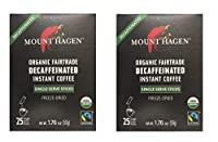 Mount Hagen Organic Decaffeinated Instant Coffee Single Serve 25 Sticks (Pack of 2)