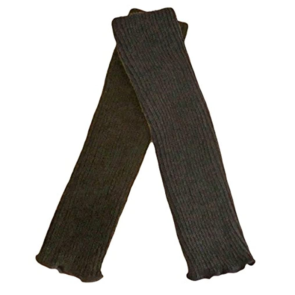 メール利益格納シルクウール二重編みレッグウォーマー 内絹外毛の二重縫製があたたかい厚手レッグウォーマー (ブラウン)