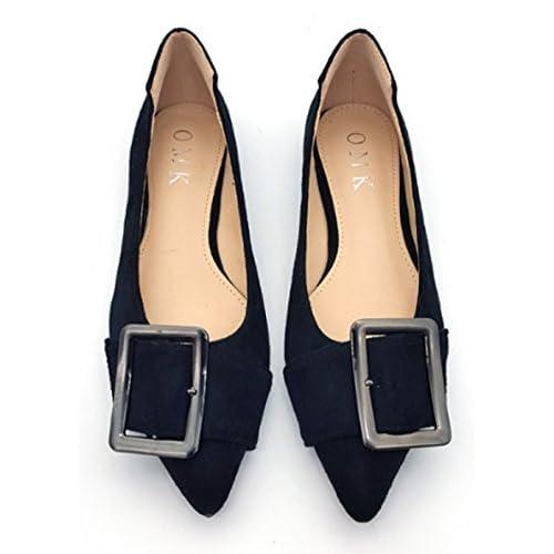 Youchan(ヨウチャン) ポインテッド パンプス バックル ベルト フラット ヒール 靴 シューズ レディース (41(25.5cm),ブラック)