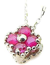 J-Jewelry ホワイトゴールド ルビー 小さなお花 ネックレス 7月誕生石