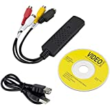 TERSELY Capture Card Video USB 2.0 VHS to DVD Adapter Converter EasyCap for PC PS3 Xbox USB VHS Tapes to PC DVD Video Audio Converter 3 RCA DVR CCTV HD Win 7, Win 10, XP and MAC System