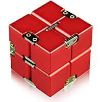 【クリスマス限定版】 Infinity Cube Toys 無限キューブ 金属アルミ合金 任意の方向と角度から回転でき ストレス消し 減圧玩具 フォーカス玩具マジックおもちゃ パズルおもちゃ 最高のプレゼント CE(EN-71) とRoHS認証 (レッド)