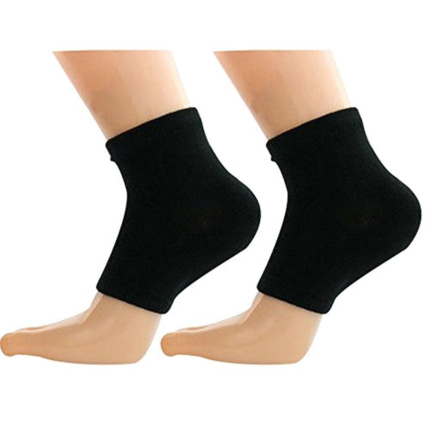 コークス出費けがをするQIAONAI レディース用 メンズ用 踵用カバー かかと 靴下 かかと ケア つるつる すべすべ 靴下 ソックス 角質ケア 保湿 角質除去 足ケア かかと 靴下 足首用サポーター  フリーサイズ (ブラック)