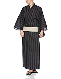 [ワタツジン]紳士しじら浴衣4点セット(浴衣・帯・下駄・収納袋) 黒太縞 メンズ