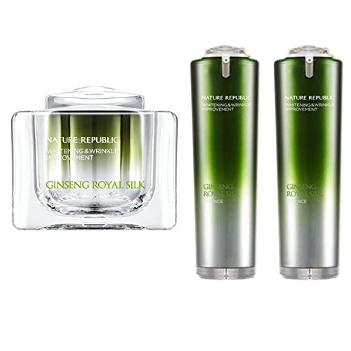 動物注釈団結[韓国 Nature Republic] Nature Republic Ginseng Royal Jelly Silk 水っぽいクリーム 60 Ml 1 エッセンス 40 Ml 2 セット ゴールドホワイトニングリンクルしっとり弾力性改善 (Nature Republic Ginseng Royal Jelly Silk Watery Cream 60 Ml 1 Essence 40 Ml 2 Set Gold Whitening Wrinkle Moist Elasticity Improvement) (クリーム 60 Ml 1 + エッセンス 40 Ml 2) [並行輸入品]