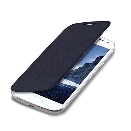 kwmobile フリップスタイル ケース カバー Samsung Galaxy S4 Mini用 ふた付き保護ケース バッグ 青色
