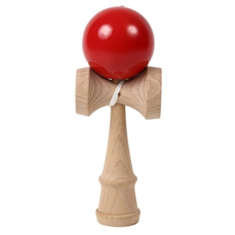 練習用けん玉 プロ仕様 木製 おもちゃ 昔遊び 子供 初心者 (赤)
