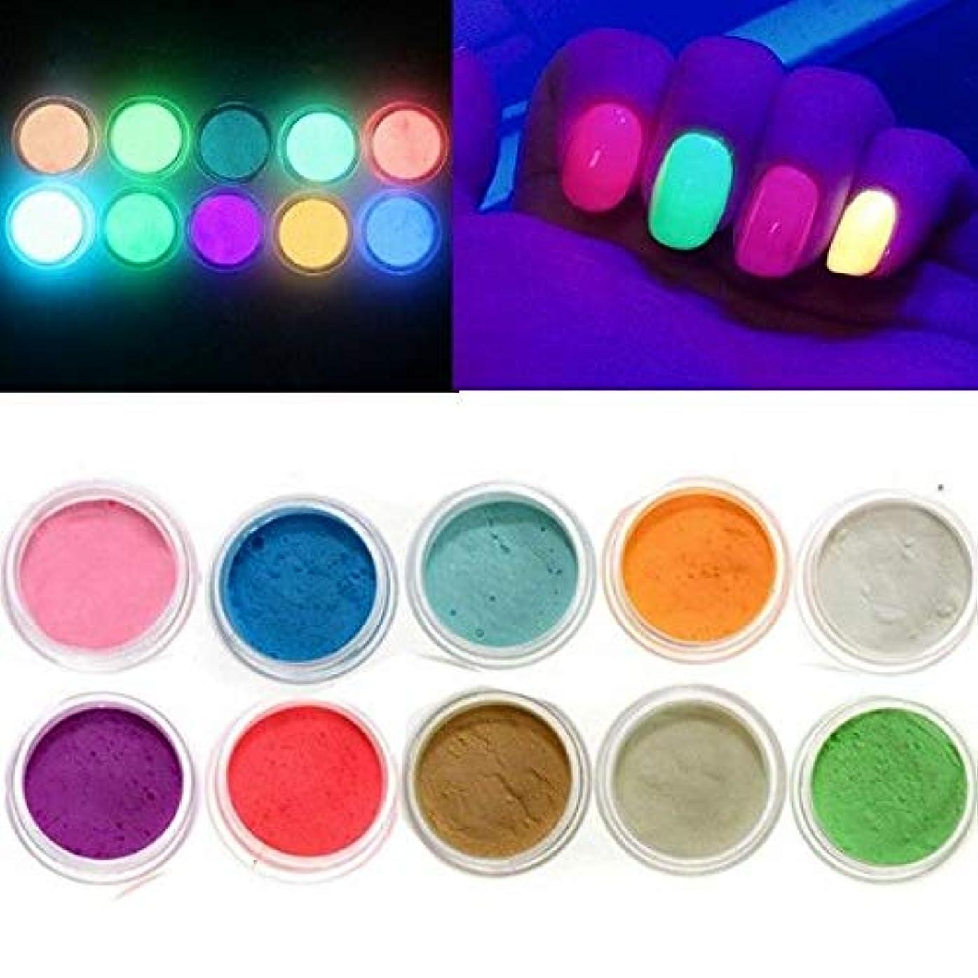トークン差別するなしでFidgetGear 10色は暗い釘の蛍光タトゥーのアクリルの粉の装飾で光ります