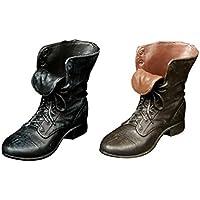 Dovewill 1/6スケール ゴム製 革 アンクルブーツ 靴 シューズ 12インチアクションフィギュア用 コレクション 2ペア