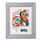 ZingVic 8x10 Light Gray Wood Picture Frame, 2 Mats, Display Photo 6x8 or Double 4x6 Pictures with Mat or 8 by 10 Without Mat, Portrait and Landscape View Decorate Desktop or Wall Hanging