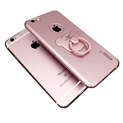 ホールドリングケース サイドボタン スマホ リング スタンド iPhone 6/6s/ iphone6 plus/6s plusケース クマ型 iphoneリング バンカーリング付き (iphone6/6s, ローズゴールド)