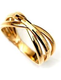 18金 ゴールド リング K18 多面 カットリング クロス リボン デザイン 指輪 カップル ペアリングにも (8)
