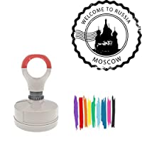 Welcome To Russia Moscow Round Badge Style Pre-Inked Stamp, Purple Ink Included