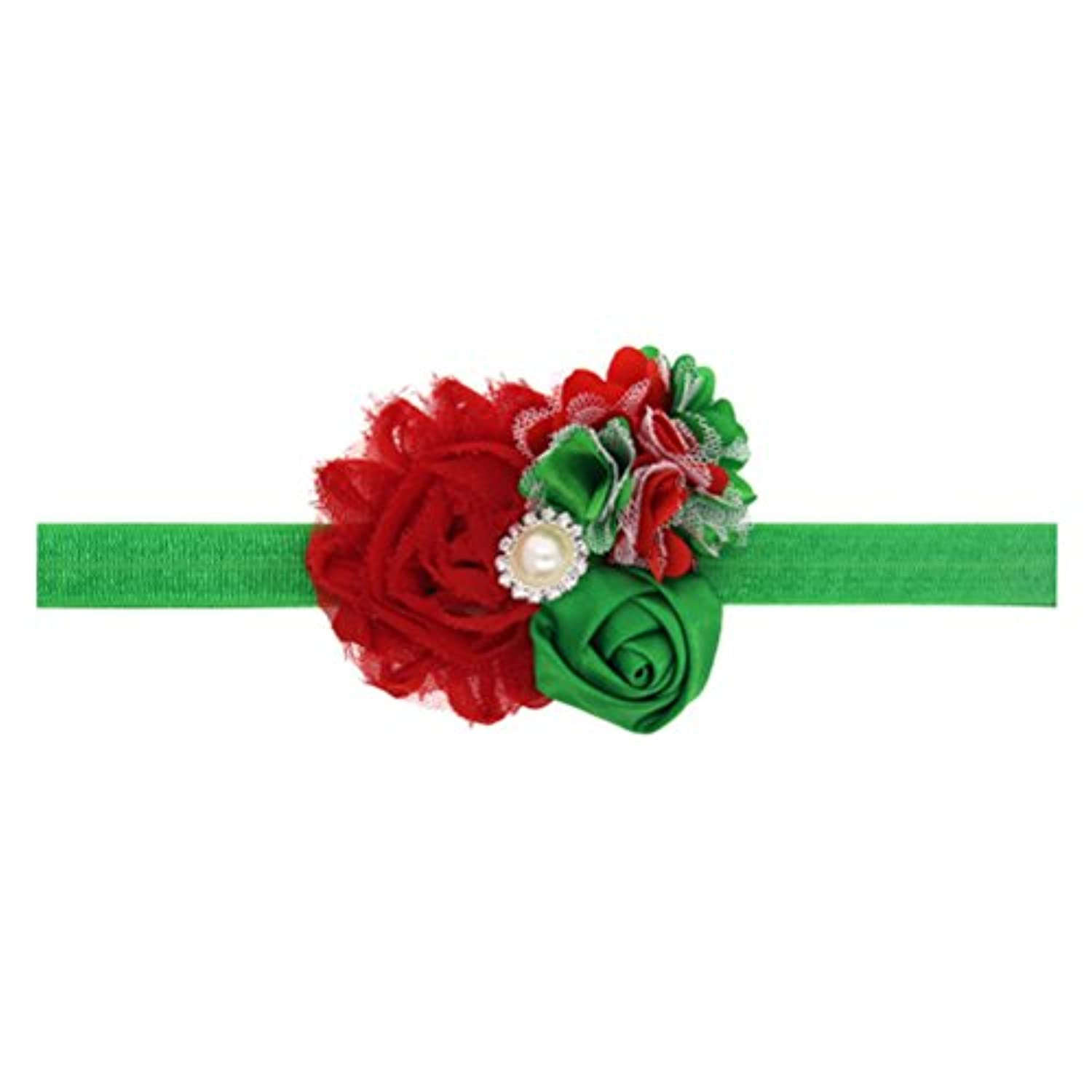 Zhhlaixing ベビー小物 Kids Girl Christmas Headband Silk Flower Headdress Faux Pearl Hairband Hair Accessories