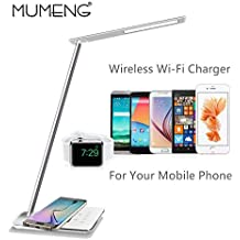 Generic Add UK Plug : mumeng LED Desk Light Wireless USB Rechargable Reading Table Lamp 5W Eye-Care Lampra Dimmable Adjustable Angle Book Lampada