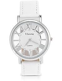 ウルザン女性の女性のアナログクォーツ時計PUストラップ中空ラウンド腕時計(ホワイトベルト白い文字盤)
