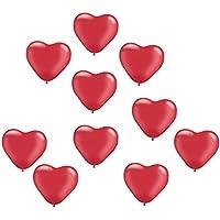Fenteer 10個入り ラテックス 風船  バルーン ラブハートデザイン 感謝祭 結婚式 誕生日パーティー 壁 窓 デコレーション 6色選べ - 赤