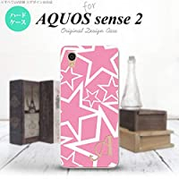 AQUOS sense2 SH-01L SHV43(アクオス センス 2) SH-01L SHV43 スマホケース カバー ハードケース 星 ピンク×白 イニシャル対応 Z nk-sens2-1118ini-z