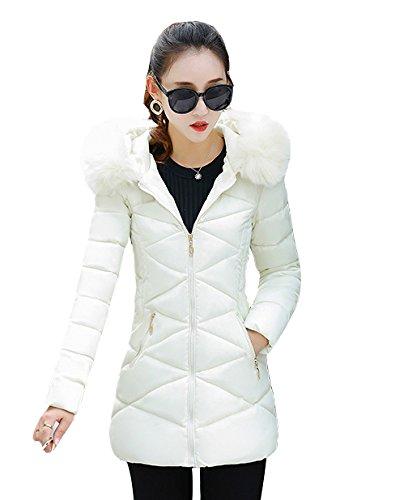 「ReiRei」レディースファッション冬服 ロングコート棉服 トップス 防寒 カジュアル中綿 ダウン 厚 ロング ジャケットダウン コート (XL, ホワイト)