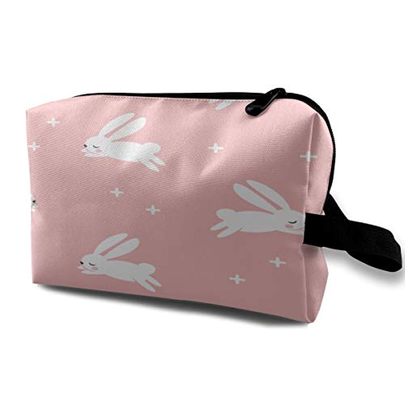 あなたのもの電気技師刑務所Bunnies Little Arrow Modern Pink Easter Rabbit 収納ポーチ 化粧ポーチ 大容量 軽量 耐久性 ハンドル付持ち運び便利。入れ 自宅?出張?旅行?アウトドア撮影などに対応。メンズ...