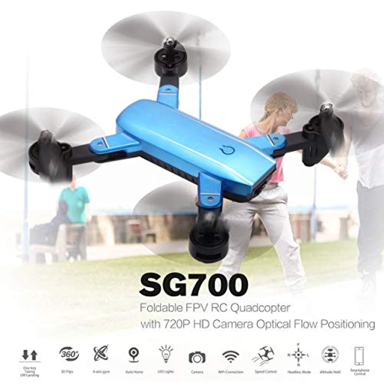 SG700 720P HD Wifi FPVカメラ付き2.4G RCドローン折りたたみ式クアドコプターオプティカルフローポジショニング高度ヘッドホールドレスモード(カラー:ブルー)