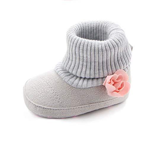 palette blue ファーストシューズ ベビーシューズ ベビー靴 室内履き 防寒靴 靴下 ルームシューズ 新生児 赤ちゃん ブーツ ブーティー (13内寸約12cm グレー)