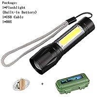 ポータブル懐中電灯COB + XPEズーム可能なフォーカス懐中電灯3/4モード防水ワークライト緊急ランテルナ、3モード