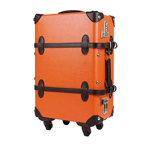 WORLD TRUNK スーツケース トランクキャリー Sサイズ 超軽量 ダイヤルロック 26L 機内持込 ts-7102-47 (オレンジ/ブラウン)