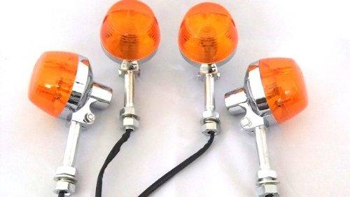 [Upper-7067] シルバーショートステー オレンジウインカー 4個 CB系 ホーク系 旧車系にも最適 修理用にも (カー&バイク用品 バイク パーツ ライトランプ ウインカー)