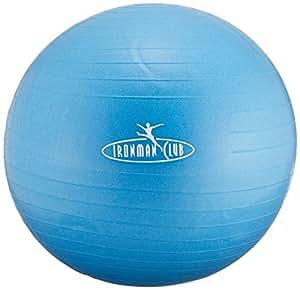 IRONMAN CLUB(鉄人倶楽部) ノーバースト ヨガボール 55cm ブルー IMC-80 ポンプ付 破裂しにくいタイプ バランス トレーニング
