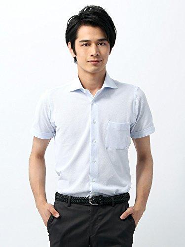 (ザ・スーツカンパニー) 半袖・コットンジャージー素材/ホリゾンタルカラードレスシャツ 織柄 〔EC・SLIM FIT〕 サックスブルー×ホワイト LL