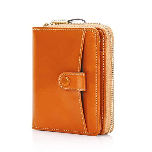 EGRDカードケース レディース財布 二つ折り財布 コンパクト じゃばら式 カード19枚収納 大容量 カード&紙幣収納可 本革制 ブラック&ブラウン RFID&磁気スキミング防止 母の日 プレゼント用にも最適