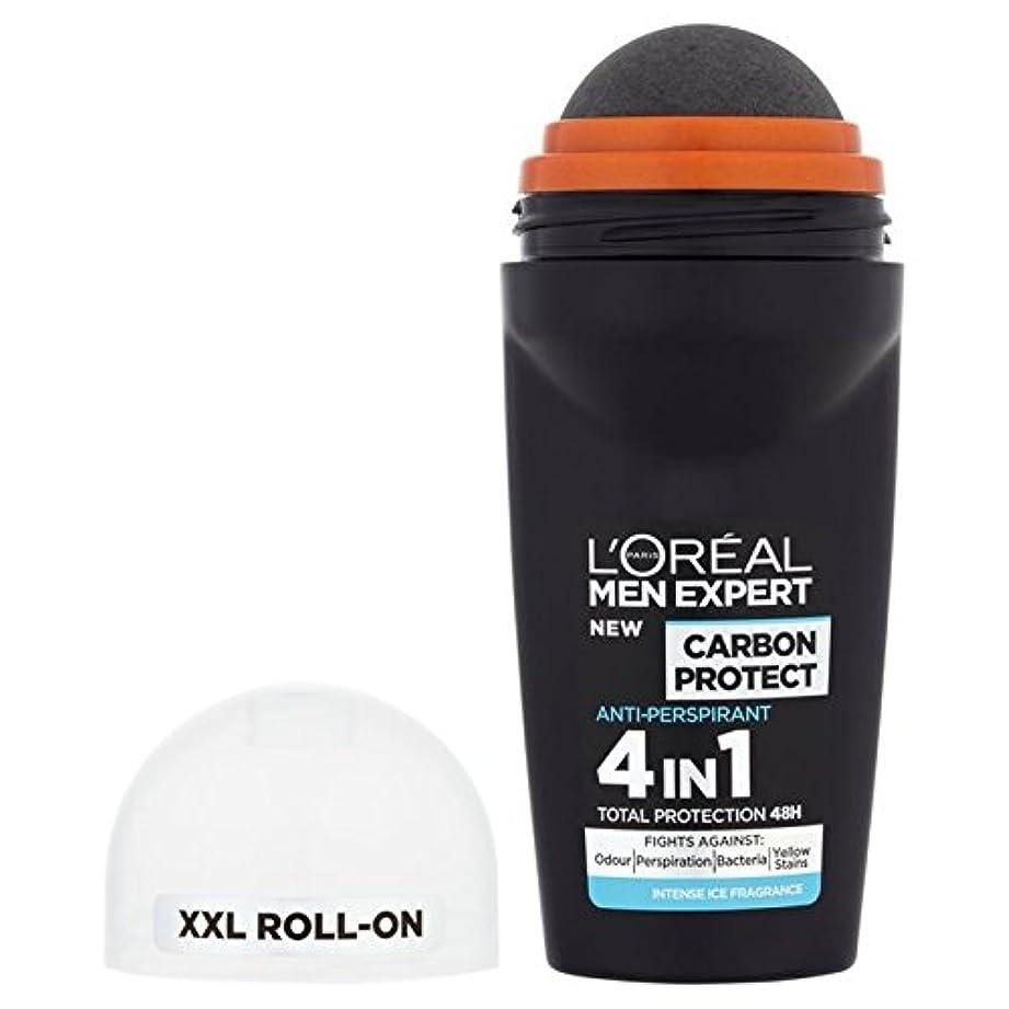 音節意気揚々工業化するロレアルの男性の専門家の炭素は、消臭50ミリリットルの氷のロールを保護します x2 - L'Oreal Men Expert Carbon Protect Ice Roll On Deodorant 50ml (Pack...