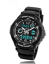 子供用腕時計 TANOKI キッズ ウォッチ 50m防水 アナデジ 多機能 スポーツ 男の子 贈り物 アラーム付き シルバー