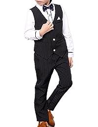 (チェリーレッド) CherryRed 男の子 フォーマル シャツ ベスト ズボン ネクタイ ベルト 5点セット