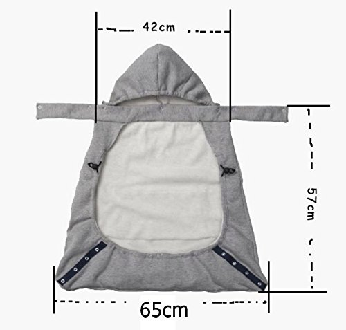 chocorimba 抱っこひも 対応 赤ちゃん 用 防寒 ベビー ケープ フード 付き (幅65cm, グレー)