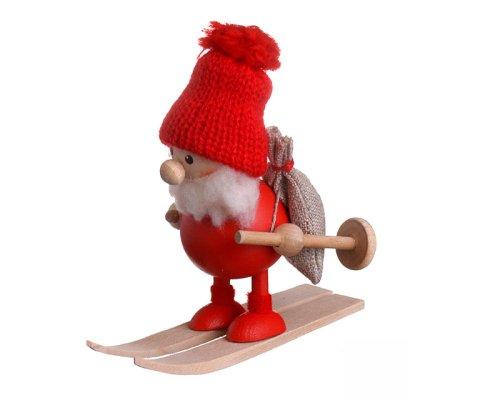 NORDIKA nisse ノルディカ ニッセ クリスマス 木製人形 (スキーをしているふとっちょサンタ / レッド / NRD120103)