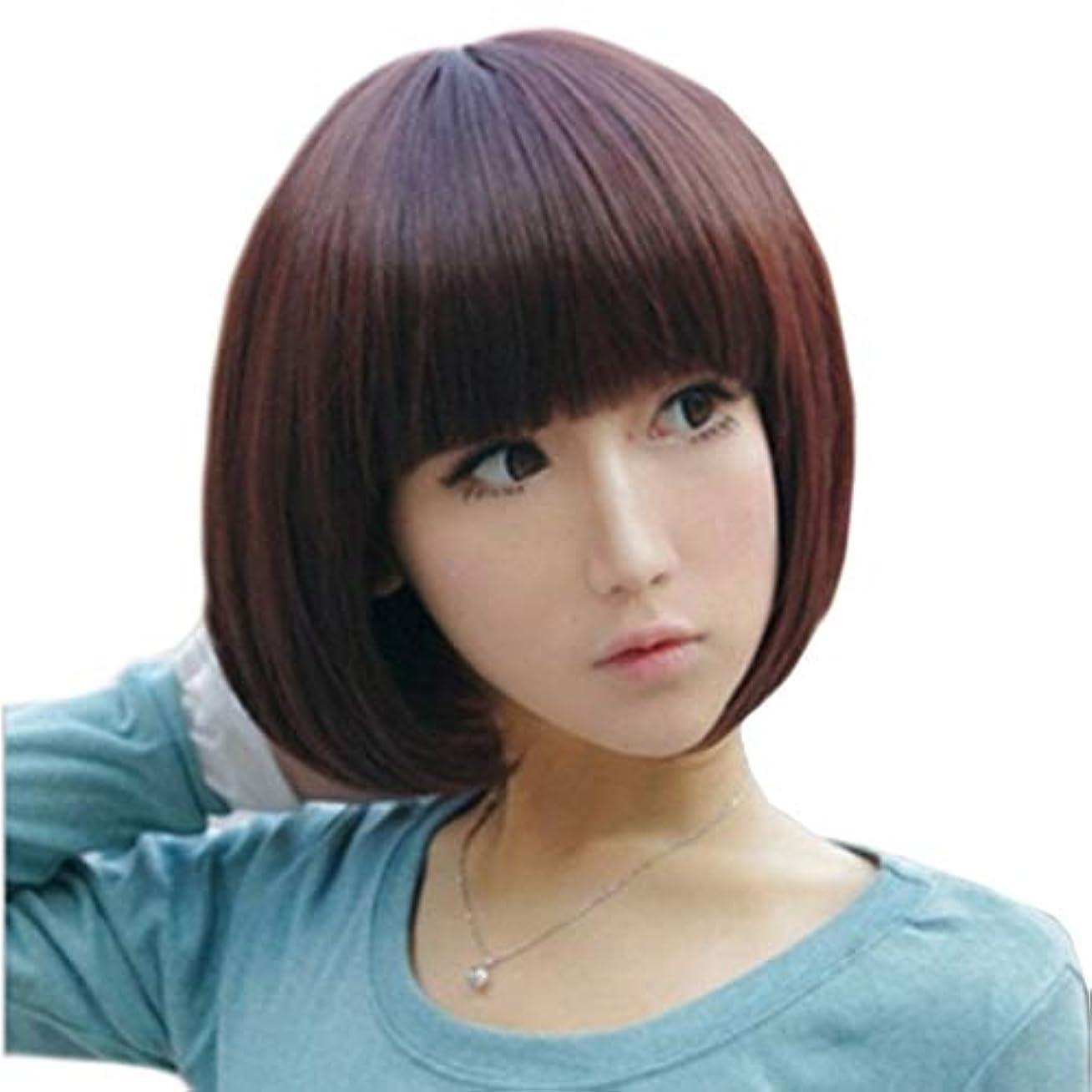 下手データもっとKerwinner 本物の髪のように自然な女性のための平らな前髪でストレートショートボブの髪かつら
