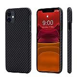 「PITAKA」iPhone 11 対応 ケース MagEZ Case アラミド繊維 カーボン風 超薄(0.85mm) 超軽量(15g) 耐衝撃 ワイヤレス充電対応 (黒/グレ-ツイル柄)