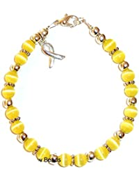 (Bladder Cancer Sarcoma - Yellow) - Hidden Hollow Beads Cancer Awareness Bracelet, For Showing Support or Fundraising Campaign, 18 colours to choose from, Adult Size with Extension, 6mm Cat's Eye Beads. Comes Packaged.