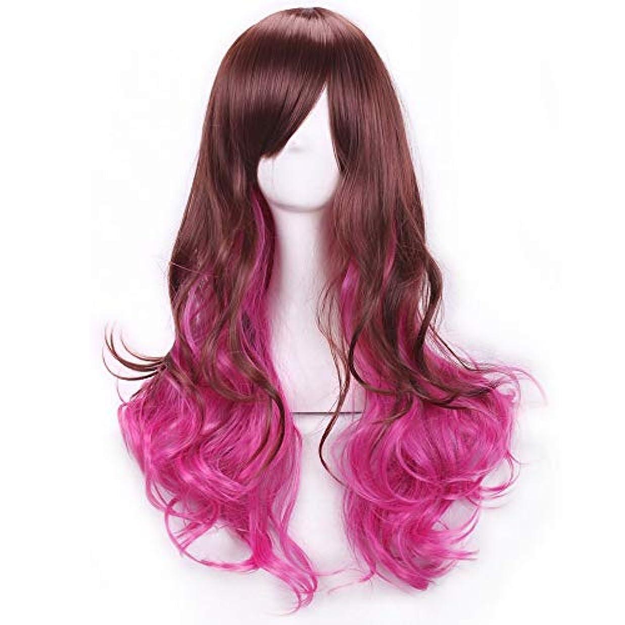 背が高いおなじみのホームレスかつらキャップでかつらファンシードレスカールかつら女性用高品質合成毛髪コスプレ高密度かつら女性&女の子用ブラウン、ピンク、パープル (Color : ピンク)