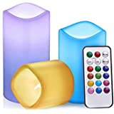 Tobeape Colour Changing Battery Operated LED Candles, Flameless Battery Pillar Candles, Decoration Candles for Wedding, Party, Dinner(Multicolor)